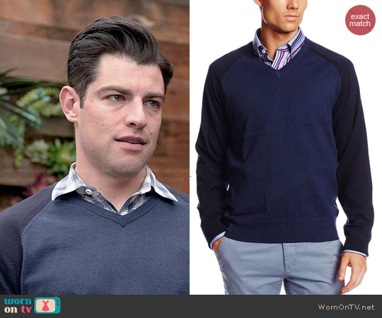 Jack Spade  'Buckley' V-neck Sweater worn by Max Greenfield on New Girl
