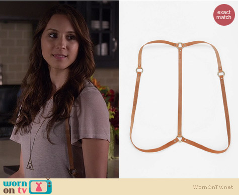 Jakimac x UO Simple Leather Harness worn by Troian Bellisario on PLL