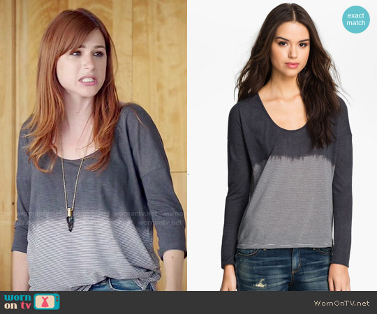 James Perse Dip Dye Stripe Top worn by Aya Cash on You're the Worst