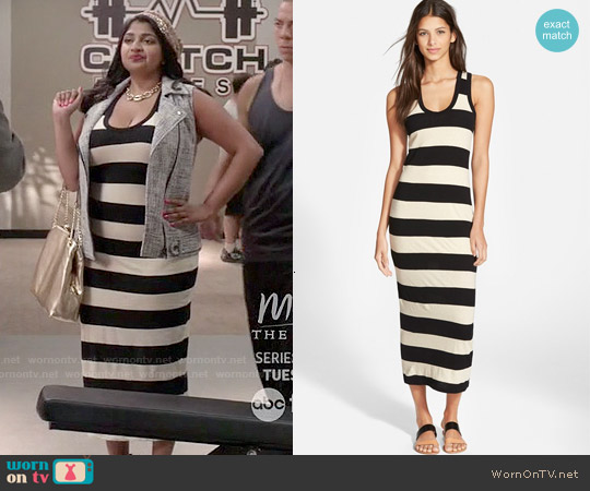 James Perse Bar Stripe Tank Dress worn by Punam Patel on Kevin from Work