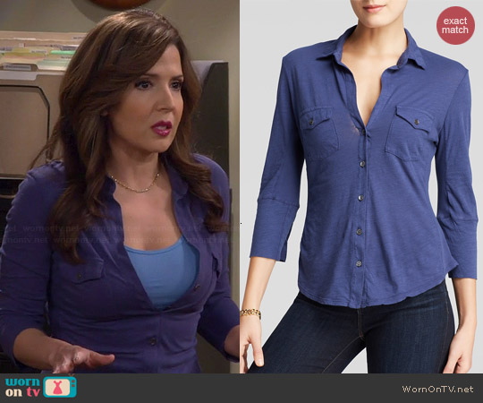 James Perse Contrase Panel Shirt worn by Maria Canals-Barerra on Cristela