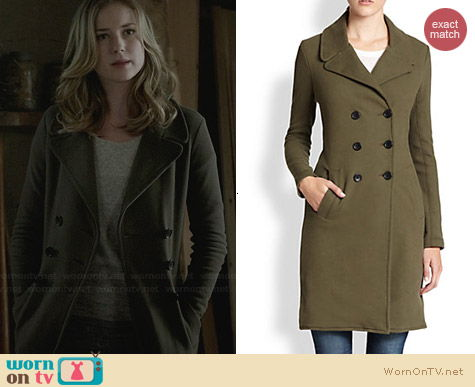James Perse Cotton Jersey Coat worn by Emily Thorne on Revenge