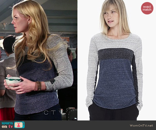James Perse Colorblock Melange Tee worn by Jennifer Morrison on OUAT