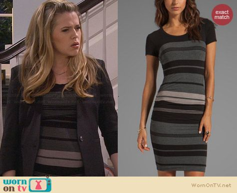 James Perse Multi Layer Stripe Dress worn by Majandra Delfino on FWBL