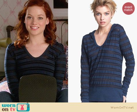 James Perse Sheer Stripe Hoodie worn by Jane Levy on Suburgatory