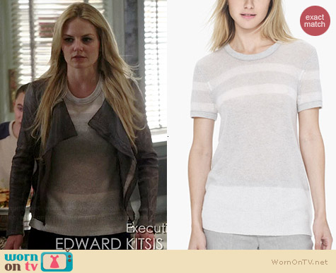 James Perse Striped Cashmere Tee worn by Jennifer Morrison on OUAT