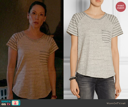 James Perse Striped Cotton Jersey Tshirt worn by Lucy Liu on Elementary