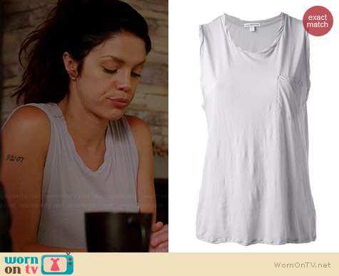 James Perse Twisted Neck Muscle Tee worn by Vanessa Ferlito on Graceland