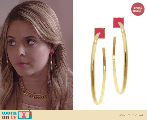 Jami Pink Layla Hoops worn by Sasha Pieterse on PLL