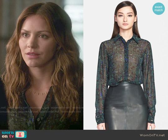 Jason Wu Abstract Print Silk Georgette Blouse worn by Katharine McPhee on Scorpion