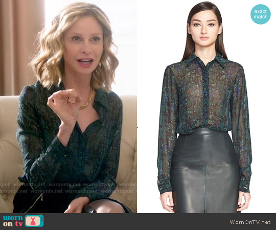 Jason Wu Abstract Print Silk Georgette Blouse worn by Calista Flockhart on Supergirl
