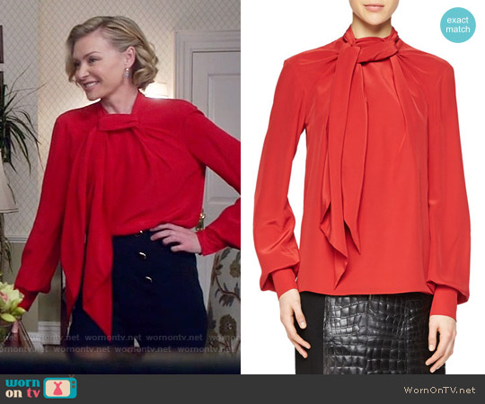 Jason Wu Bishop Sleeve Scarf Blouse worn by Kerry Washington on Scandal