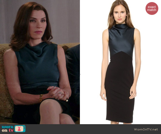 Jason Wu Drape Neck Sheath Dress worn by Julianna Margulies on The Good Wife