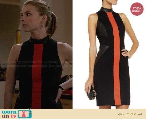 Jason Wu Leather Paneled Jersey Dress worn by Emily VanCamp on Revenge