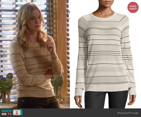 Jason Wu Striped Silk Pullover Sweater worn by Emily VanCamp on Revenge