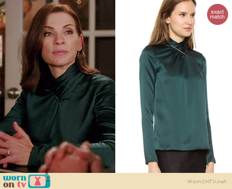 Jason Wu Tie Bar Blouse in Evergreen worn by Julianna Margulies on The Good Wife