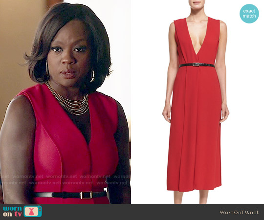 Jason Wu V-Neck Crepe Wrap Dress worn by Viola Davis on HTGAWM