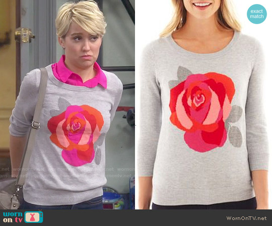 JC Penney Flower Intarsia Sweater worn by Chelsea Kane on Baby Daddy