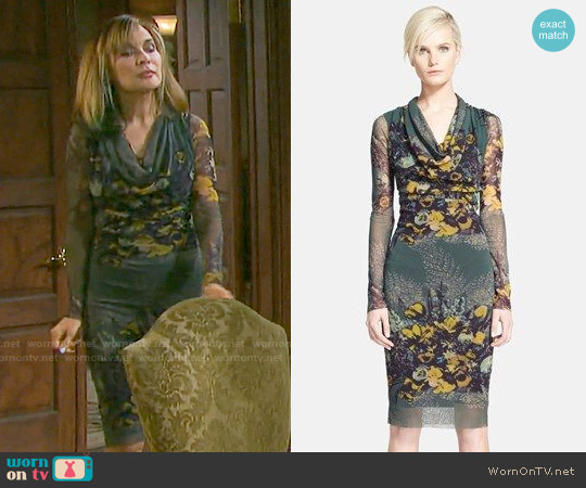Jean Paul Gaultier Print Cowl Neck Tulle Dress worn by Lauren Koslow on Days of our Lives
