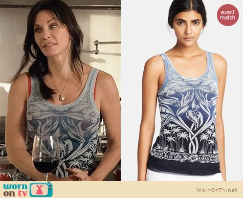 Jean Paul Gaultier Tahitian Tulle Tank worn by Courtney Cox on Cougar Town