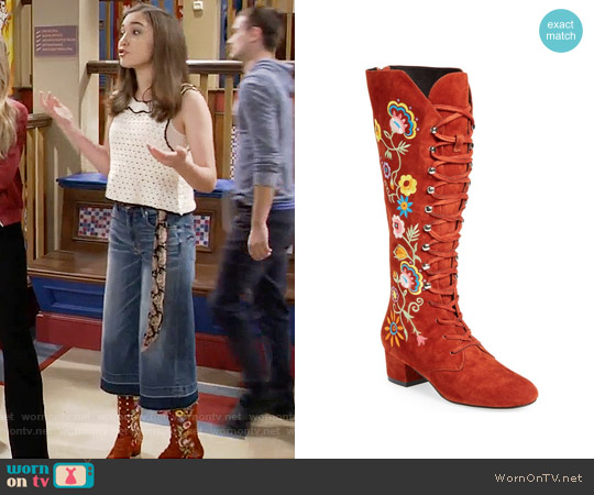 Jeffrey Campbell 'Mirabeau' Lace-Up Tall Boot worn by Rowan Blanchard on Girl Meets World