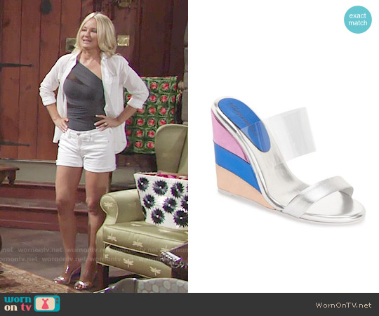 Jeffrey Campbell Carenza Wedge Sandals worn by Sharon Case on The Young & the Restless