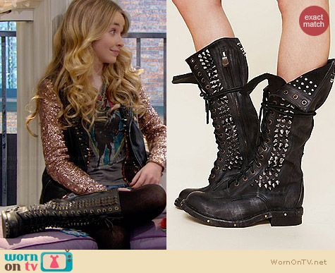 Jeffrey Campbell Studded Seattle Love Boots worn by Sabrina Carpenter on Girl Meets World