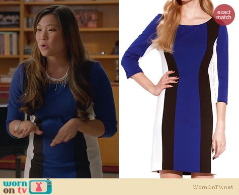 Jenna Ushkowitz Fashion: Laundry by Shelli Segal Blue Colorblock Dress worn on Glee