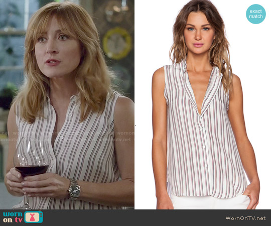 Jenni Kayne Button Down Tank worn by Sasha Alexander on Rizzoli & Isles