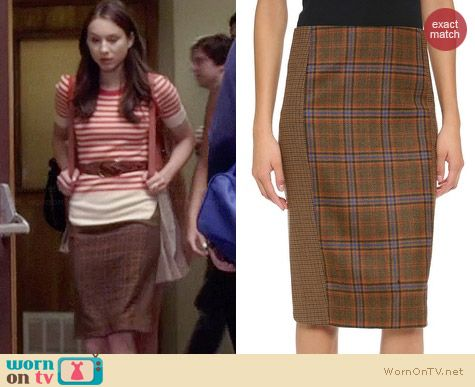 Jenni Kayne Checked Cutout Pencil Skirt worn by Troian Bellisario on PLL