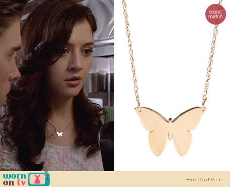 Jennifer Zeuner Butterfly Necklace worn by Maggie Landers on The Carrie Diaries