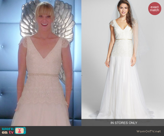 Jenny Yoo Vionnet Metallic Lace Gown worn by Heather Morris on Glee