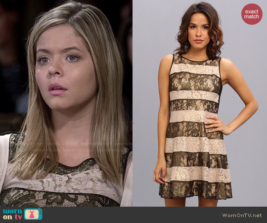 Jessica Simpson Stripe Lace Fit and Flare Dress worn by Sasha Pieterse on PLL