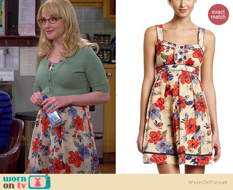 Jessica Simpson Ruffle Front Tank Dress in Vintage Floral worn by Melissa Rauch on The Big Bang Theory