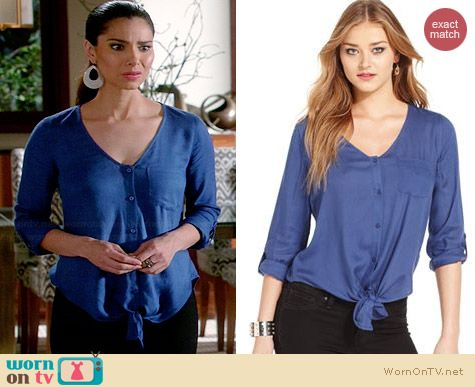 Jessica Simpson Tie Front Shirt worn by Roselyn Sanchez on Devious Maids