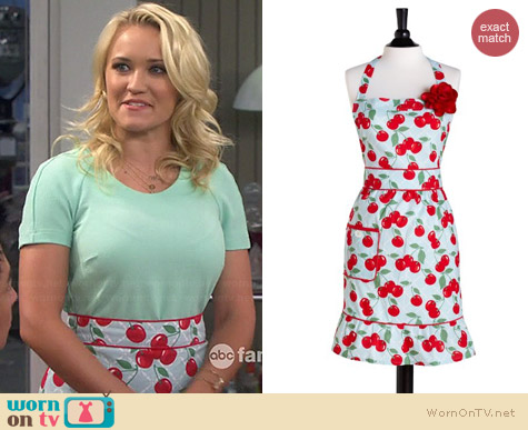 Jessie Steele Cherry Print Apron worn by Emily Osment on Young & Hungry