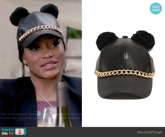 Jewelry Factory Pom Pom Ears Fashion Chained Leather Hat worn by Zayday Williams on Scream Queens