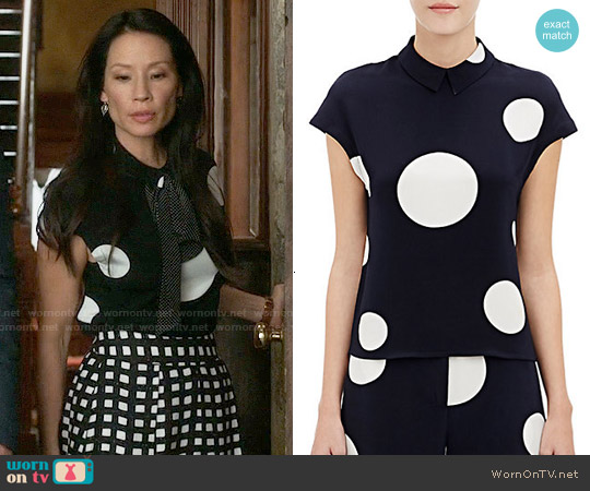 Ji Oh Cap Sleeve Blouse worn by Lucy Liu on Elementary