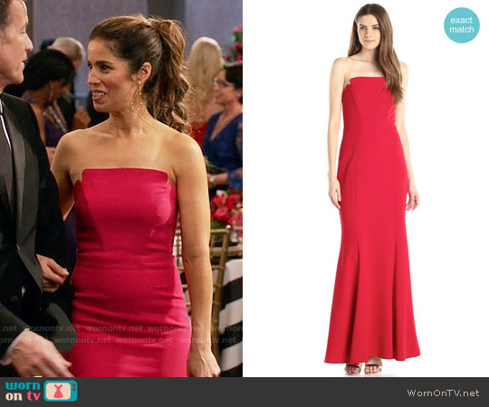 Jill Stuart Strapless Column Gown in Garnet worn by Ana Ortiz on Devious Maids