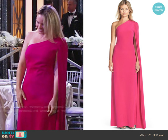Jill Stuart Cape Sleeve Crepe Gown worn by Sharon Case on The Young & the Restless