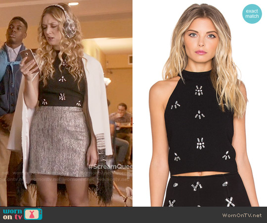 JOA Bejeweled Halter Crop Top worn by Chanel #3 on Scream Queens