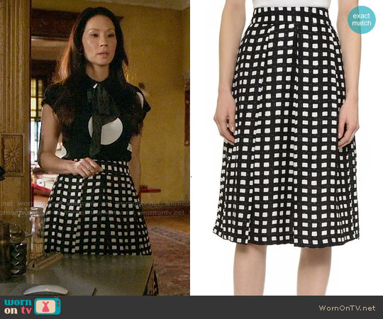 JOA Checkered Midi Skirt worn by Joan Watson on Elementary