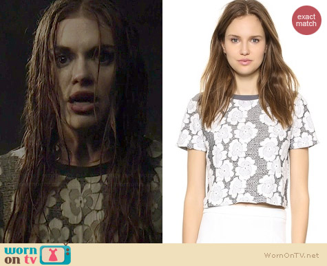 JOA Knit Jacquard Floral Tee worn by Holland Roden on Teen Wolf