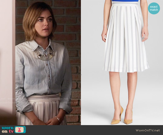 JOA Vertical Stripe Skirt worn by Lucy Hale on PLL