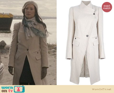 Joan Watson Fashion: Ann Demeulemeester Blanche Coat worn on Elementary