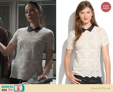 Joan Watson Fashion: Madewell Collar Lace Top worn on Elementary
