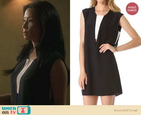 Joan Watson Fashion: Mason by Michelle Mason Contrast Shift Dress worn by Lucy Liu