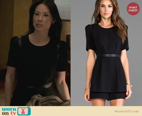 Joan Watson Fashion: Milly Leather Trim Romper worn by Lucy Liu