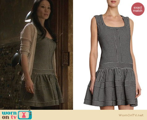 Joan Watson Fashion: Thakoon Drop Waist Striped Dress worn by Lucy Liu