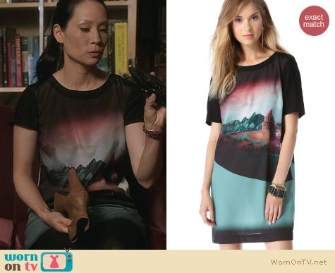 Joan Watson Fashion: Twelfth Street by Cynthia Vincent Shift Dress worn by Lucy Liu